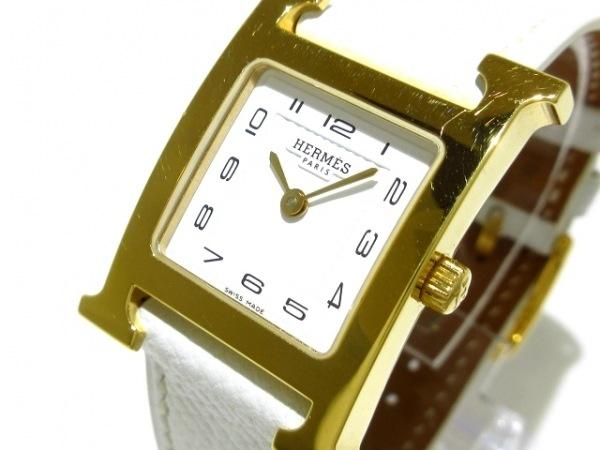 HERMES(エルメス) 腕時計 Hウォッチ HH1.201 レディース 革ベルト 白