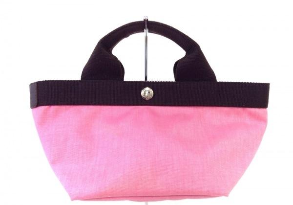 エルベシャプリエ トートバッグ美品  ピンク×ダークブラウン ミニサイズ ナイロン