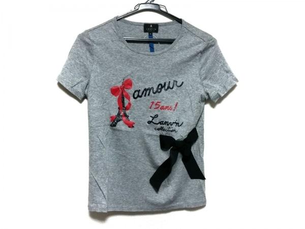 LANVIN(ランバン) 半袖Tシャツ サイズ38 M レディース美品  グレー×黒×レッド