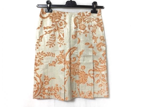 バレンチノローマ スカート サイズ40 M レディース新品同様  ベージュ×オレンジ 花柄