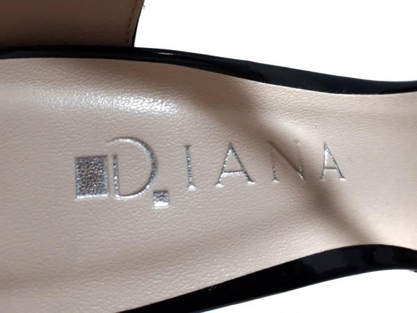 DIANA(ダイアナ) サンダル M レディース美品  黒 エナメル(レザー)