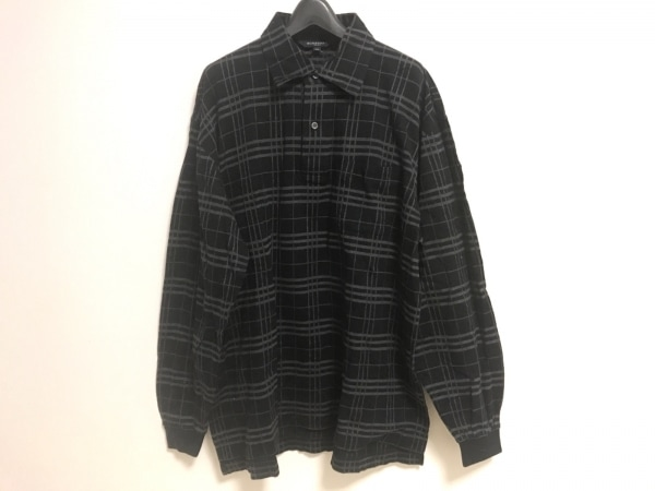 BURBERRYGOLF(バーバリーゴルフ) 長袖ポロシャツ サイズLL メンズ 黒×グレー
