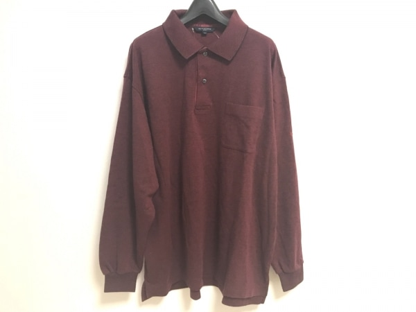BURBERRYGOLF(バーバリーゴルフ) 長袖ポロシャツ サイズLL メンズ ボルドー×黒
