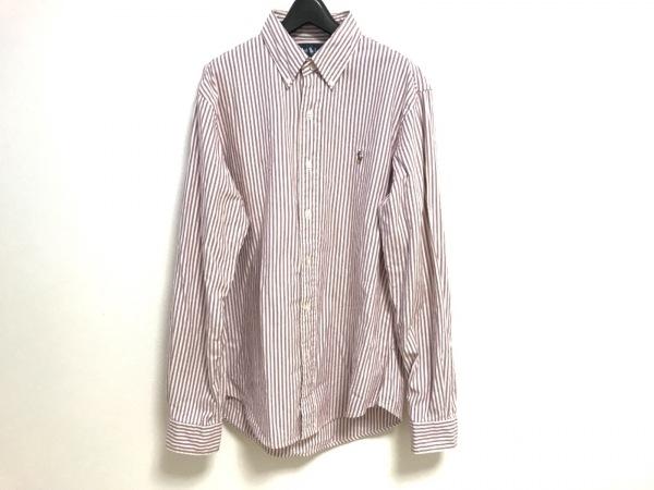 RalphLauren(ラルフローレン) 長袖シャツ サイズM メンズ 白×パープル ストライプ