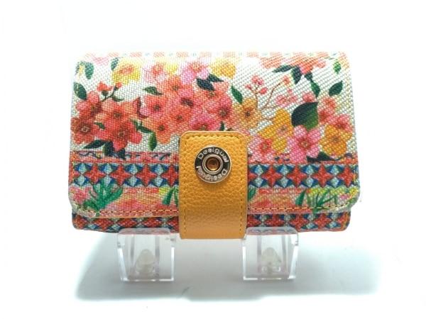 デシグアル 2つ折り財布 アイボリー×ピンク×マルチ 花柄 ポリエステル×合皮