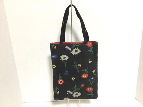 アンティパスト ハンドバッグ美品  ダークグレー×黒×マルチ 花柄 化学繊維