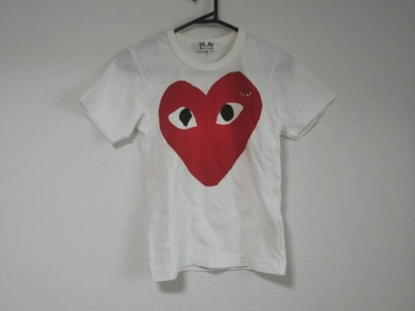 プレイコムデギャルソン 半袖Tシャツ サイズSS XS レディース 白×レッド