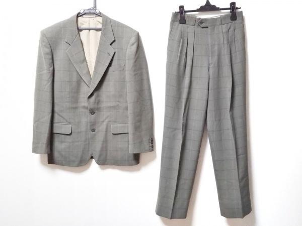 トラサルディー シングルスーツ メンズ ダークグリーン×ライトブルー チェック柄