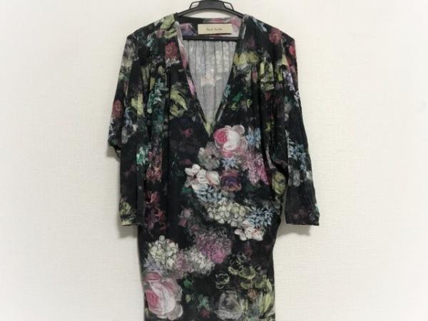 PaulSmith(ポールスミス) ワンピース サイズM レディース美品  黒×白×マルチ 花柄