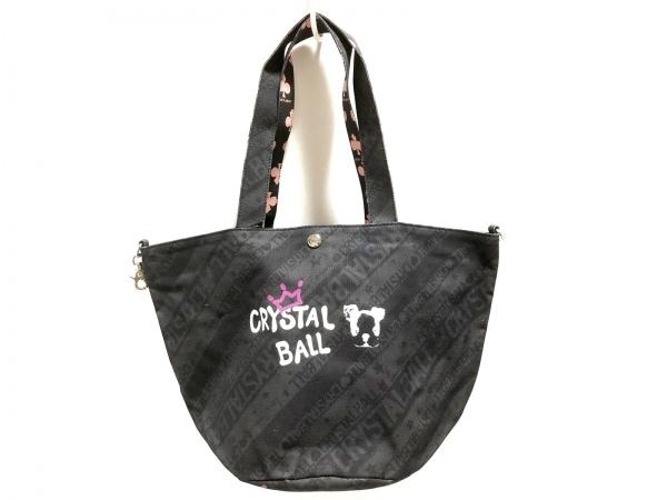 クリスタルボール トートバッグ美品  黒×ダークグレー×マルチ 犬/スター/ストライプ