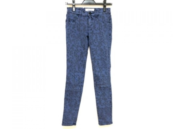 LE CIEL BLEU(ルシェルブルー) パンツ サイズ34 S レディース ブルー×黒 豹柄