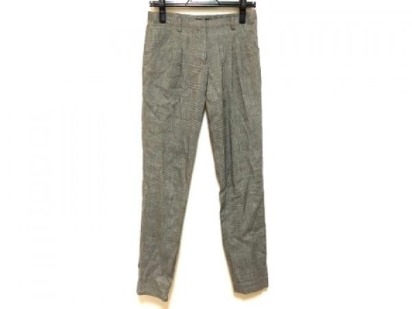 ルシェルブルー パンツ サイズ36 S レディース ダークグレー×白 ラメ/チェック柄
