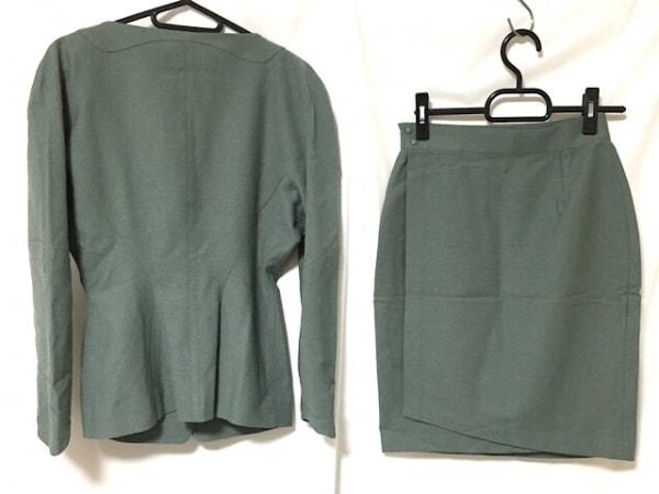 ティエリーミュグレー スカートスーツ サイズ9 M レディース グリーン 肩パッド