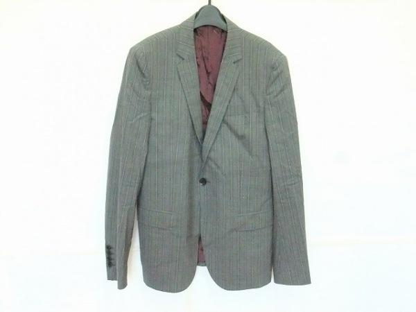 ジョンリッチモンド ジャケット サイズ46 XL メンズ グレー×ピンク ストライプ