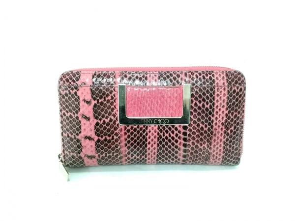 ジミーチュウ 長財布 - ピンク×黒 ラウンドファスナー/型押し加工 レザー