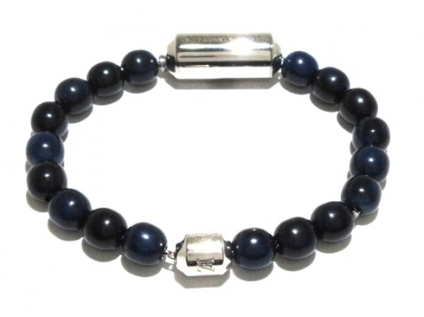 ルイヴィトン ブレスレット美品  ブラスレ・パールズ LV アロハ M63656 ブルー