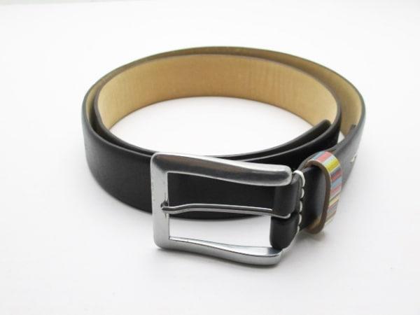 PaulSmith(ポールスミス) ベルト 36 黒×シルバー×マルチ レザー×金属素材