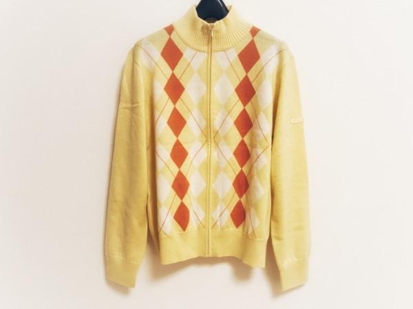 バーバリーゴルフ 長袖セーター サイズM レディース イエロー×白×オレンジ