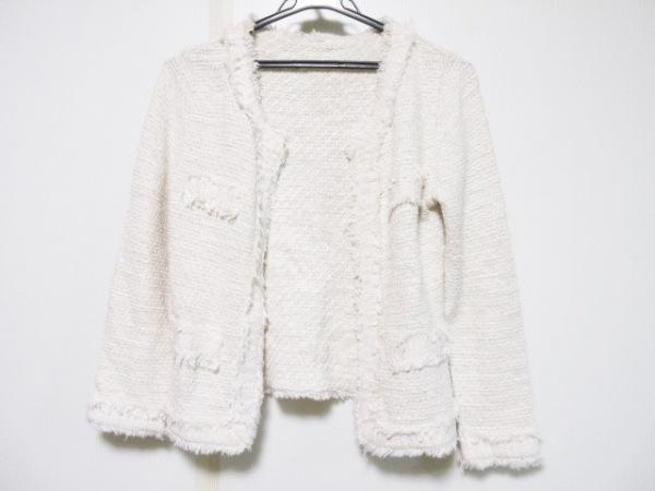 enrecre(アンレクレ) ジャケット サイズF レディース 白×ピンク ラメ
