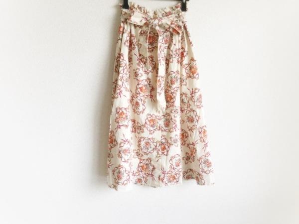 トワエボンボン スカート サイズF レディース美品  アイボリー×レッド×マルチ