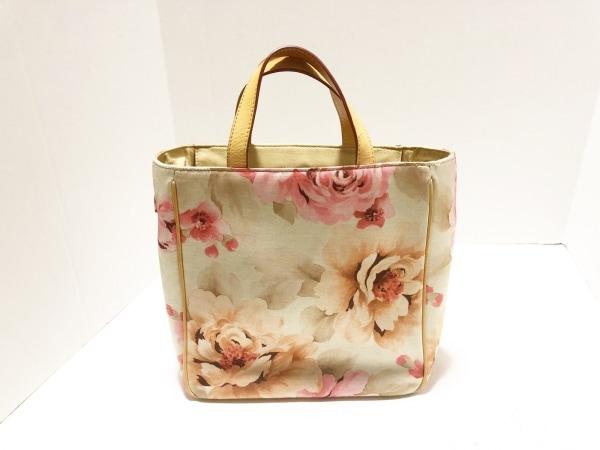 ウォレス ハンドバッグ ライトグレー×ベージュ×ピンク 花柄 キャンバス×レザー