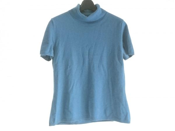 TSE(セイ) 半袖セーター サイズL レディース ブルー タートルネック/カシミヤ