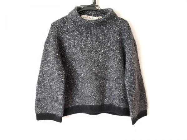 アイエルバイサオリコマツ 長袖セーター サイズ38 M レディース ダークグレー×白×黒