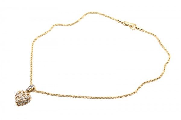 スワロフスキー ネックレス 金属素材×スワロフスキークリスタル ゴールド×クリア