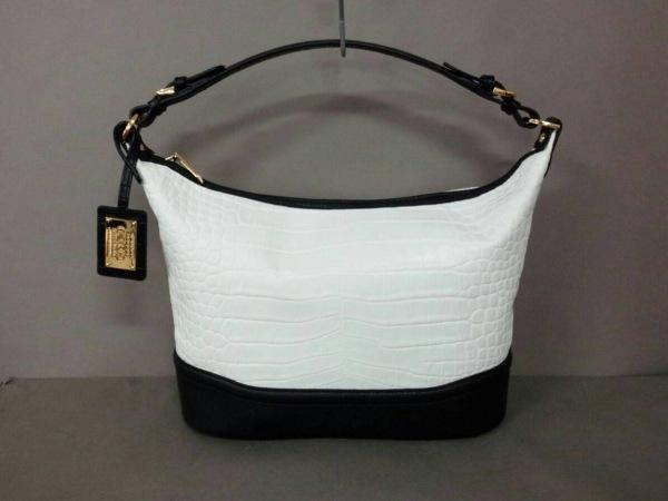 ココセリュックスゴールド ショルダーバッグ美品  白×黒 クロコ型押し レザー