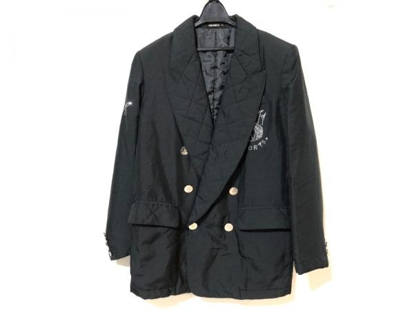 バレンザポー コート サイズ40 M レディース 黒×クリア 冬物/ラインストーン