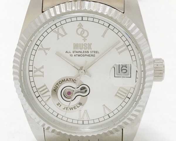MUSK(ムスク) 腕時計 MMT-002 メンズ 裏スケ 白