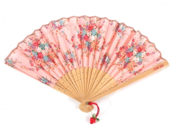 ピンクハウス 小物 ピンク×パープル×マルチ 扇子/花柄 ウッド×化学繊維