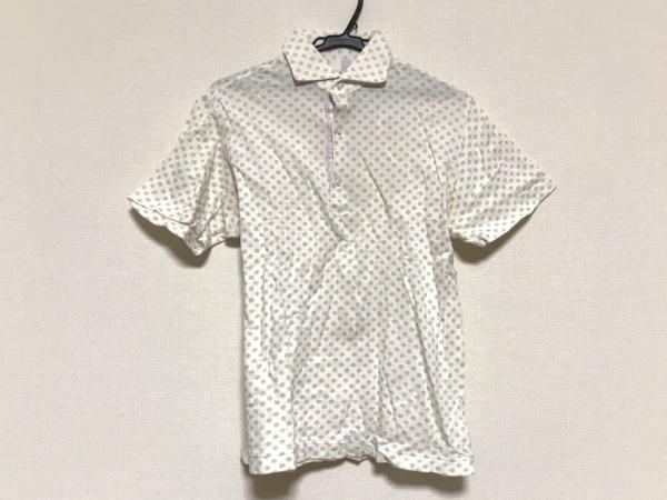 オリアン 半袖ポロシャツ サイズL メンズ アイボリー×パープル×ライトグリーン 花柄