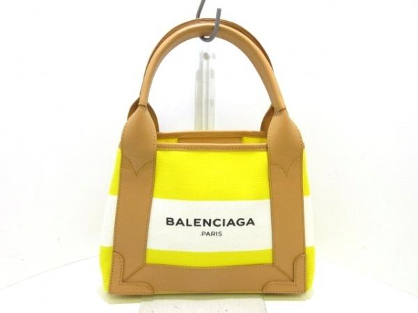 バレンシアガ トートバッグ美品  ネイビーカバXS 390346 イエロー×白×ベージュ