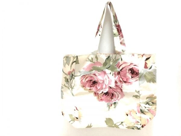 ローラアシュレイ トートバッグ アイボリー×ピンク×マルチ 花柄 ナイロン