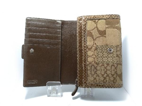 COACH(コーチ) 2つ折り財布 - カーキ×ダークブラウン ジャガード×レザー