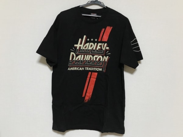 ハーレーダビッドソン 半袖Tシャツ メンズ美品  黒×アイボリー×マルチ
