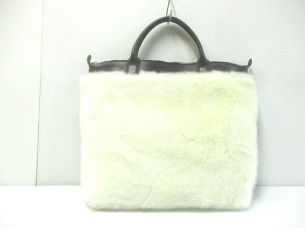 ウォントレスエッセンシャルデラヴィ ハンドバッグ美品  黒×白 フェイクファー