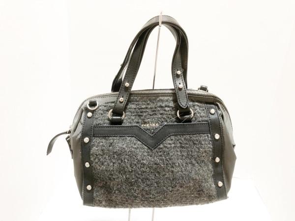 DIESEL(ディーゼル) ハンドバッグ グレー×黒 ナイロン×化学繊維×レザー