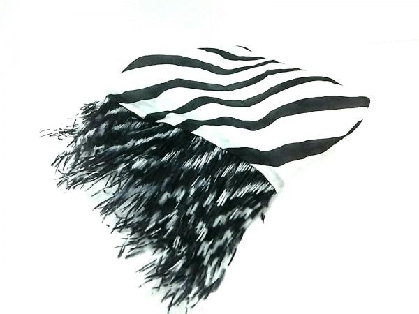 ALEXIA(アレクシア) ストール(ショール)美品  白×黒 フェザー シルク