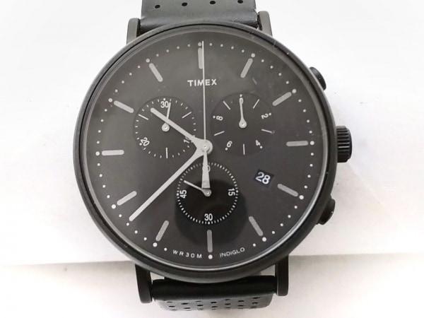 TIMEX(タイメックス) 腕時計 CR2016 メンズ 革ベルト 黒
