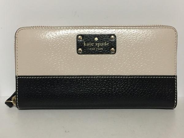 Kate spade(ケイトスペード) 長財布 黒×アイボリー ラウンドファスナー レザー