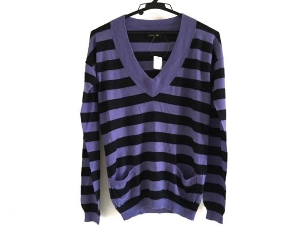 Drawer(ドゥロワー) 長袖セーター レディース パープル×黒 ボーダー/カシミヤ混