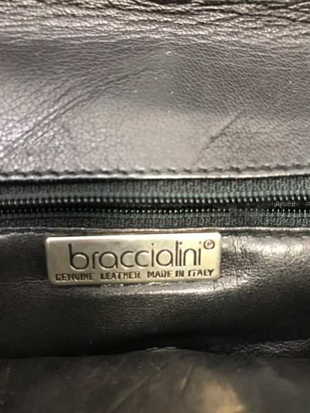 braccialini(ブラッチャリーニ) ショルダーバッグ 黒 リボン レザー