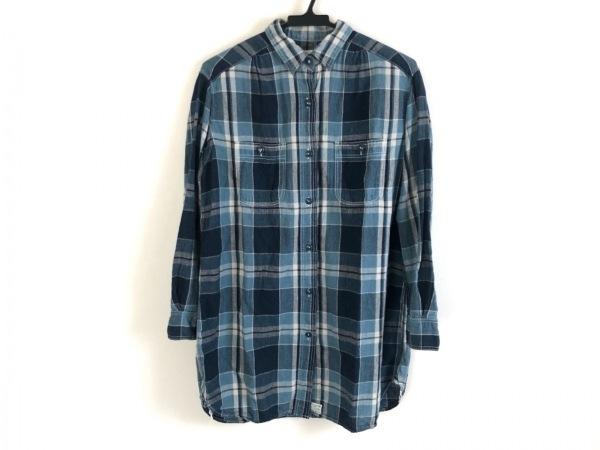 オアスロウ 長袖シャツ メンズ ブルー×アイボリー×ダークネイビー チェック柄