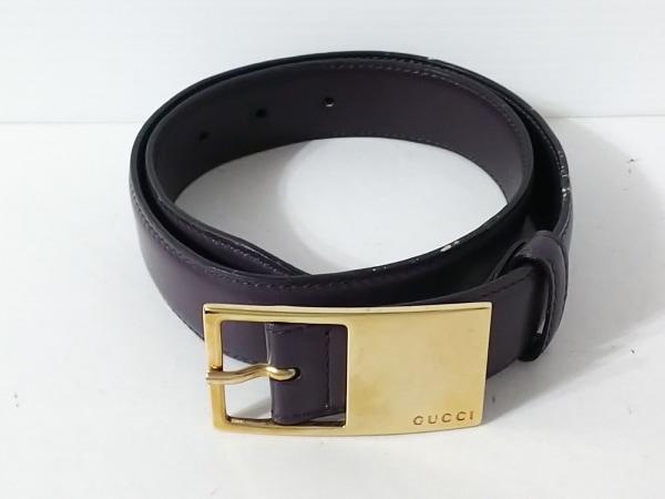 GUCCI(グッチ) ベルト 65・26 パープル×ゴールド レザー×金属素材