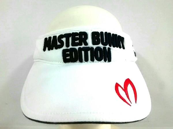 マスターバニーエディション サンバイザー 58cm 白×ネイビー×レッド 刺繍 コットン