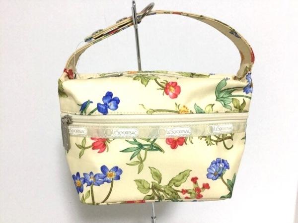 レスポートサック ハンドバッグ新品同様  ベージュ×マルチ 花柄 レスポナイロン