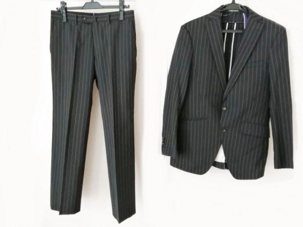 パーソンズ シングルスーツ サイズ93 メンズ 黒×パープル ストライプ/FOR MEN
