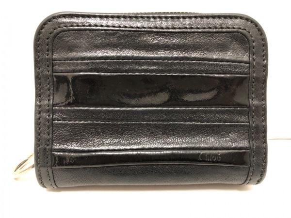 Chloe(クロエ) 2つ折り財布 - 黒 レザー×エナメル(レザー)
